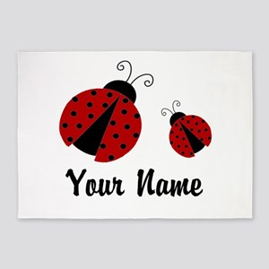 Ladybugs Red Personalized 5'x7'Area Rug