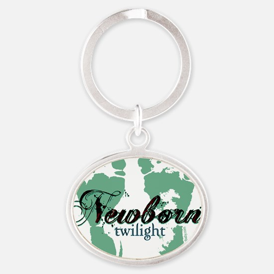 newborn green feet twilight copy Oval Keychain