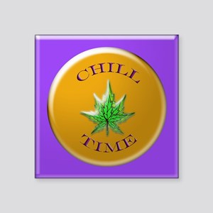 """chill time 11x11_pillow Square Sticker 3"""" x 3"""""""