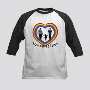 Love Makes A Family  Kids Baseball Jersey
