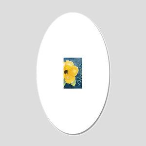 Half Hawaiian Hibiscus 20x12 Oval Wall Decal