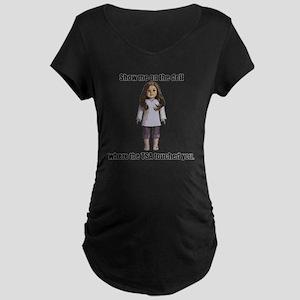 TSA_Doll_Transparent Maternity Dark T-Shirt