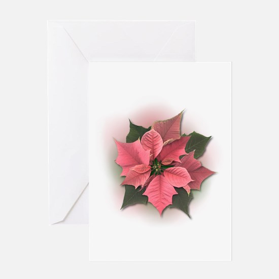 Pink Poinsettia Greeting Card