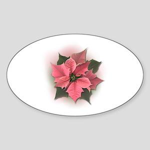 Pink Poinsettia Sticker (Oval)