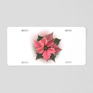 Pink Poinsettia Aluminum License Plate