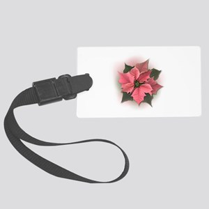 Pink Poinsettia Large Luggage Tag