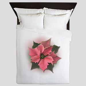 Pink Poinsettia Queen Duvet