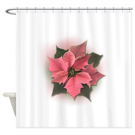 Pink Poinsettia Shower Curtain