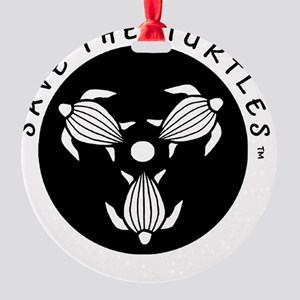 SAVE THE TURTLES BLACK LOGO DESIGN Round Ornament