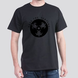 SAVE THE TURTLES BLACK LOGO DESIGN Dark T-Shirt