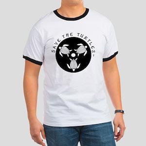 SAVE THE TURTLES BLACK LOGO DESIGN Ringer T