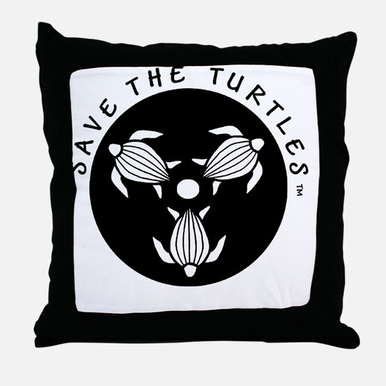 SAVE THE TURTLES BLACK LOGO DESIGN Throw Pillow