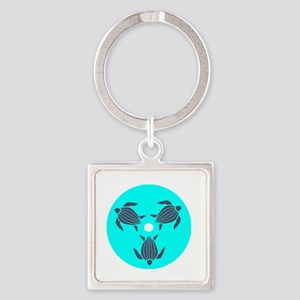 Save the Turtles Blue Logo dark sh Square Keychain