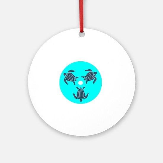 Save the Turtles Blue Logo dark shi Round Ornament