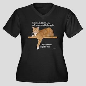 Orange Kitty Women's Plus Size Dark V-Neck T-Shirt