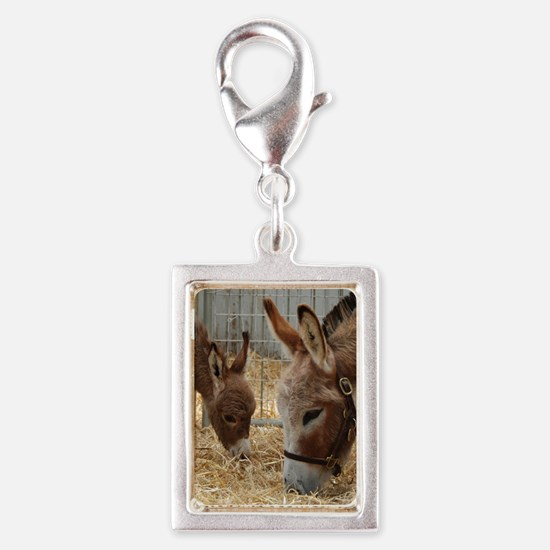Donkey and her Foal Silver Portrait Charm