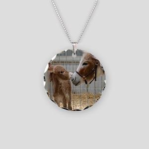 Newborn Donkey Foal Necklace Circle Charm