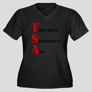tsa004 Women's Plus Size Dark V-Neck T-Shirt