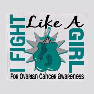 Fight Like A Girl Ovarian Cancer 8.5 Throw Blanket