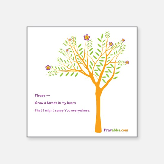 "New Tree Praywear Square Sticker 3"" x 3"""