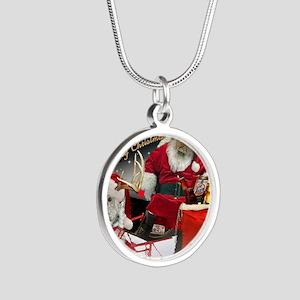 HO HO HO Have Merry Xmas Silver Round Necklace