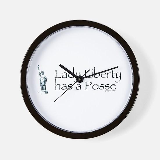 Lady Liberty Has A Posse Wall Clock