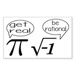 Get Real, Be Rational Math Humor Sticker (Rectangl