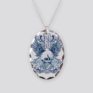 Lucky 13 skull Necklace Oval Charm