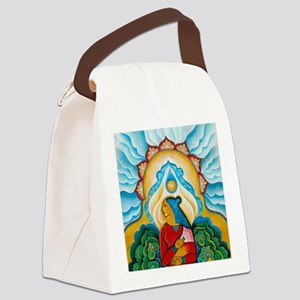 Blue Flower Canvas Lunch Bag