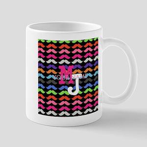 Custom Monogram Mustache Pattern Mugs