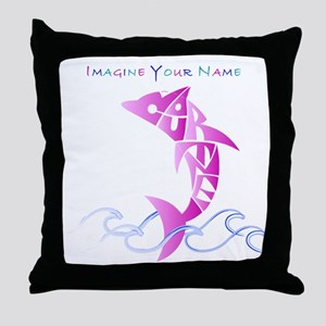 Cortney pink dolphin Throw Pillow