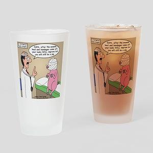Pig Plastic Surgery Drinking Glass