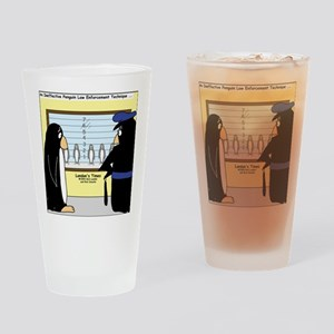Penguin Police Lineup Drinking Glass