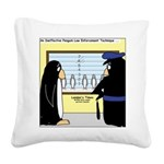 Penguin Police Lineup Square Canvas Pillow