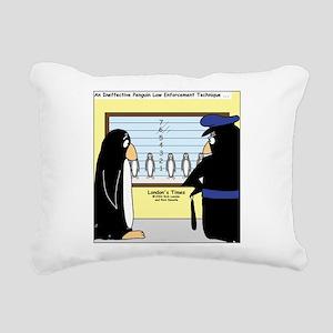 Penguin Police Lineup Rectangular Canvas Pillow