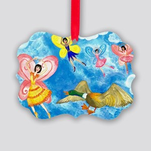 duck meets fairy ballet class Picture Ornament
