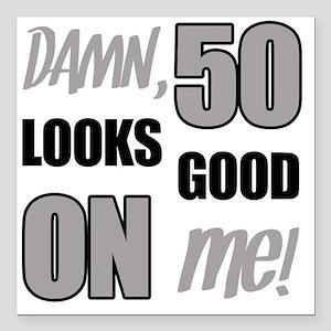 "Funny 50th Birthday (Dam Square Car Magnet 3"" x 3"""