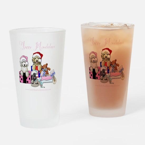 SK_Cmas_SHIRT_PinkTxt Drinking Glass