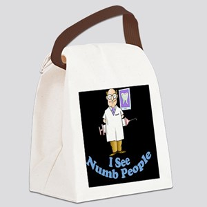 ISeeNumbPeopleDentistblk Canvas Lunch Bag