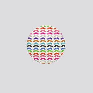 Girly Colorful Pattern Mustaches Mini Button