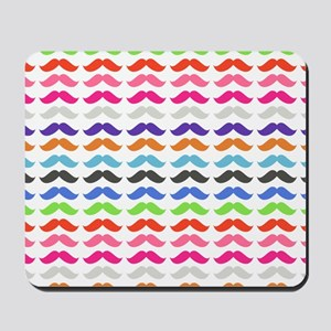 Girly Colorful Pattern Mustaches Mousepad