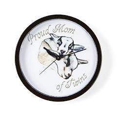 Pygmy Goat Twins Wall Clock