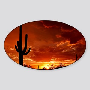 Saguaro Sunset-2 Sticker (Oval)