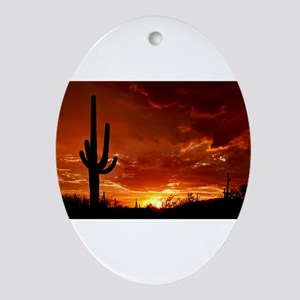Saguaro Sunset-2 Ornament (Oval)