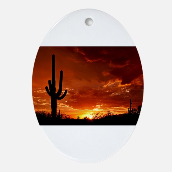 Saguaro Sunset-2 Ornament (Oval)