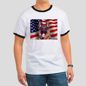 Patriotic German Shepherd Ringer T