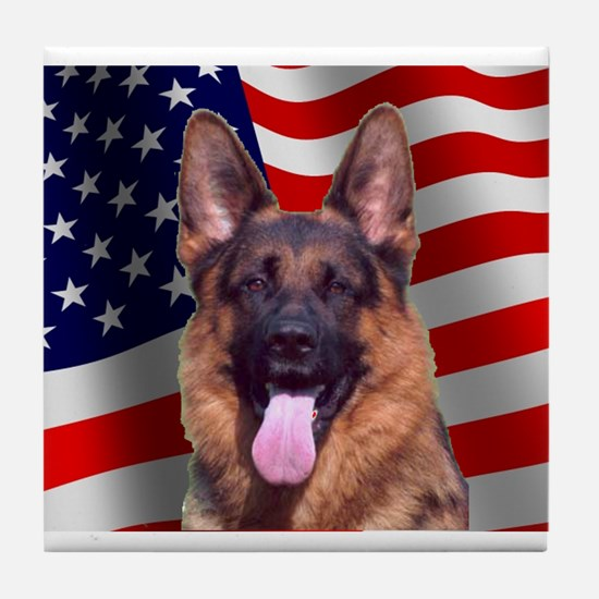 Patriotic German Shepherd Tile Coaster