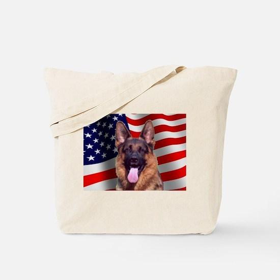 Patriotic German Shepherd Tote Bag
