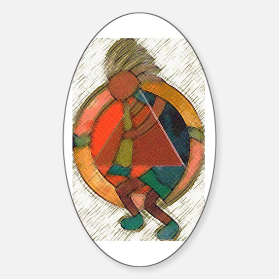 Kokopelli healing Oval Decal