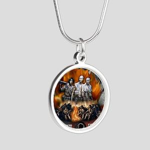 wall biker copy Silver Round Necklace